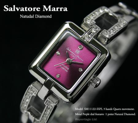 大特価!【Salvatore Marra】天然ダイヤ レディス腕時計(SM11122-SSPL)