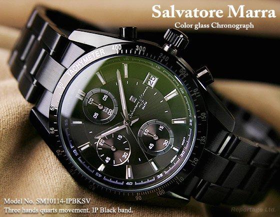 雑誌掲載モデル【Salvatore Marra】1/10秒クロノグラフ 特殊ガラス(SM10114-IPBKSV)