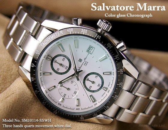 雑誌掲載モデル【Salvatore Marra】1/10秒クロノグラフ 特殊ガラス(SM10114-SSWH)