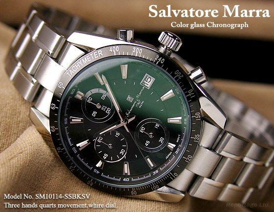 雑誌掲載モデル【Salvatore Marra】1/10秒クロノグラフ 特殊ガラス(SM10114-SSBK)