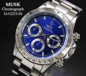 uk availability dc303 d99a5 【MUSK】 デイトナタイプ クロノグラフ MA2115-04 - 腕時計のセレクトショップ Reportage