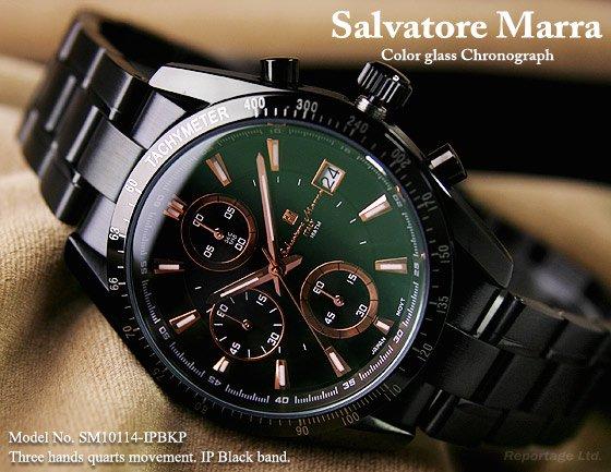 雑誌掲載モデル【Salvatore Marra】1/10秒クロノグラフ 特殊ガラス(SM10114-IPBKPG)