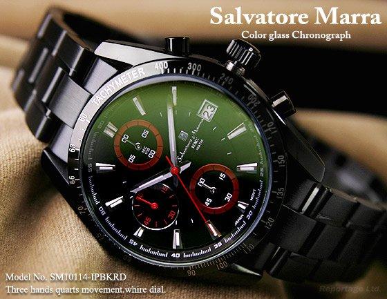 雑誌掲載モデル【Salvatore Marra】1/10秒クロノグラフ 特殊ガラス(SM10114-IPBKRD)